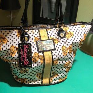 Betsey Johnson Yellow Black & White Tote Bag